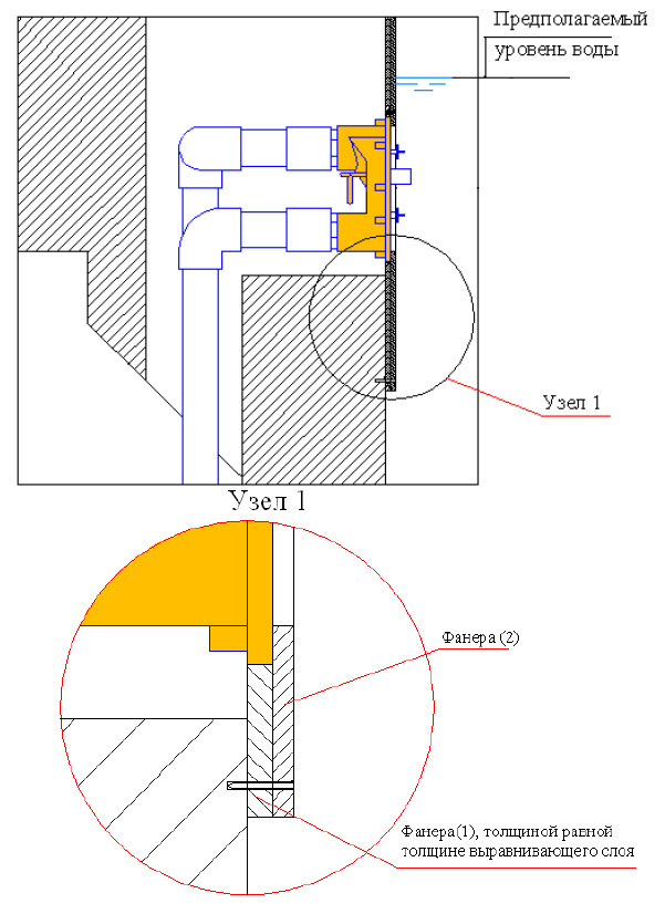 Подсоединение фанерных листов 1 и 2